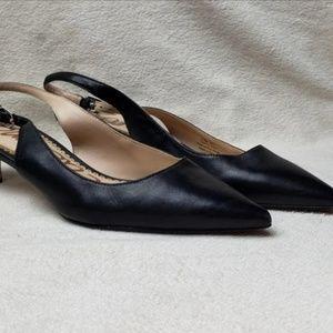 Sam Edelman Ludlow Black Leather Kitten Heels